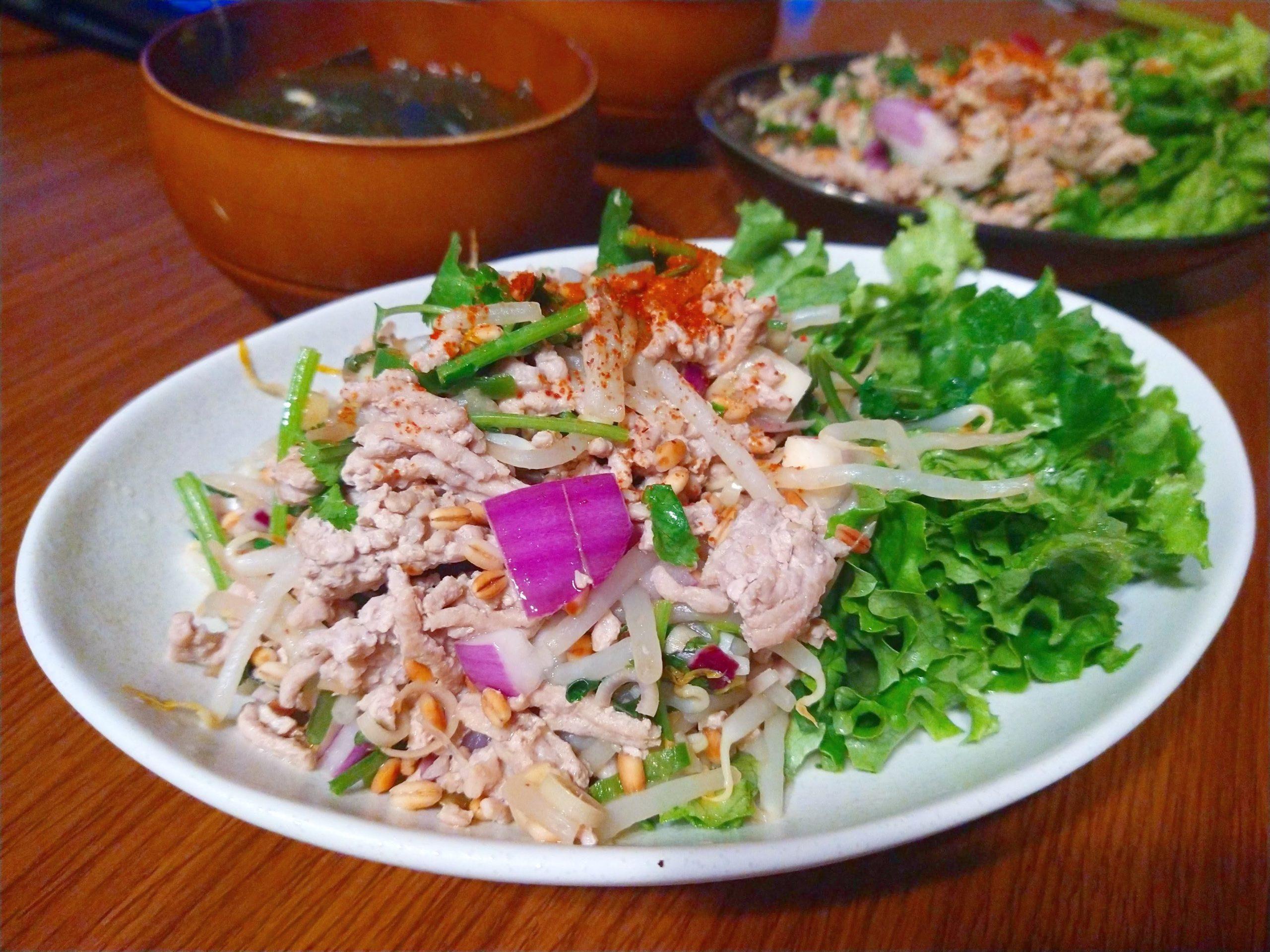 ラープムー、タイ料理、サラダ